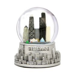 Chicago Snow Globe Skyline with glass globe and snow