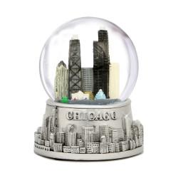 Chicago Snow Globe Skyline with glass globe and snow