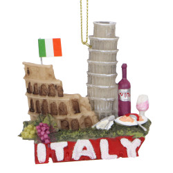Italy Christmas Ornament Pisa, Coliseum, Wine