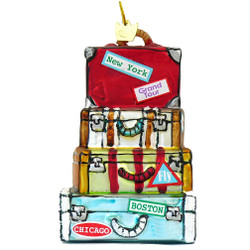 Glass World Traveler Stacked Suitcase Luggage Christmas Ornament