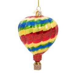 Hot Air Balloon Christmas Ornament Glass