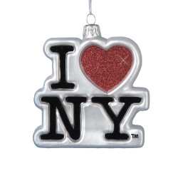 I Love NY Christmas ornaments Logo Glass