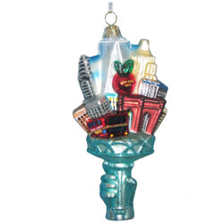Torch Statue of Liberty Christmas Ornament Glass