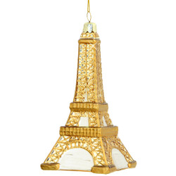 Gold Eiffel Tower Ornament Glass