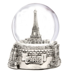 Silver Paris Snow Globe