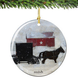 Amish Horse & Buggy Porcelain Amish Christmas Ornament