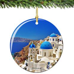 Santorini, Greece Porcelain Christmas Ornament