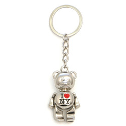 Metal I Love NY Teddy Bear Key Chain