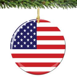 USA Flag Christmas Ornament Porcelain