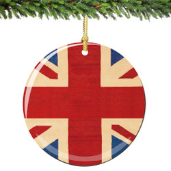 Union Jack Christmas Ornament Porcelain