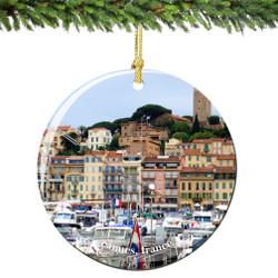Cannes France Christmas Ornament Porcelain