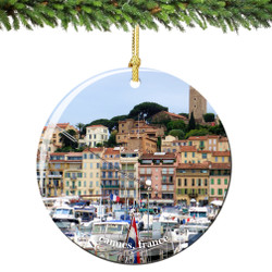 Cannes France Christmas Ornament Porcelain