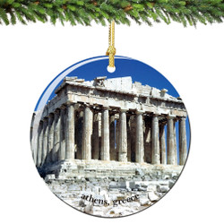 Acropolis Athens Greece Christmas Ornament Porcelain