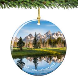 Grand Teton National Park Christmas Ornament Porcelain
