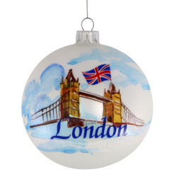 London Christmas Ornament 4 Inch Hand Painted Glass Ball