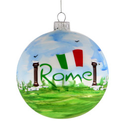 Rome Christmas Ornament 4 Inch Hand Painted Glass Ball