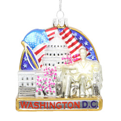Washington DC Landmarks Glass Ornament