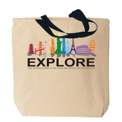 Global Landmarks Explore Canvas Tote Bag