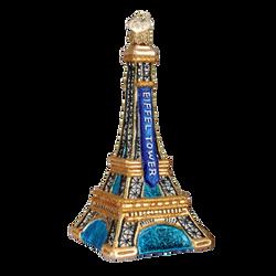Golden Eiffel Tower Glass Ornament