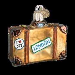 Destinations Suitcase Glass Ornament