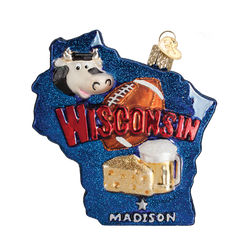State Of Wisconsin Landmarks Glass Ornament