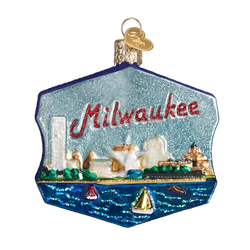 Milwaukee Skyline Glass Ornament