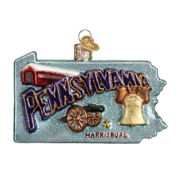 State Of Pennsylvania Landmarks Glass Ornament