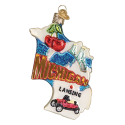 State Of Michigan Landmarks Glass Ornament