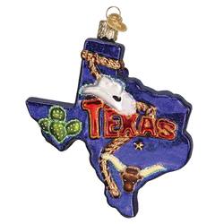 State Of Texas Landmarks Glass Ornament