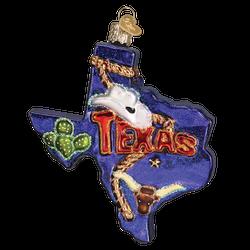 State Of Texas Landmarks Glass Ornament