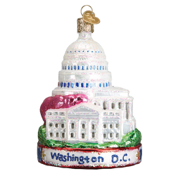 Washington D.C. Landmarks Glass Ornament