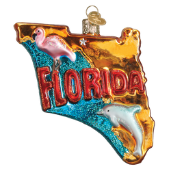 State Of Florida Landmarks Glass Ornament