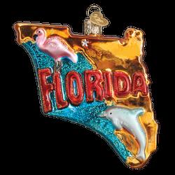 State Of Florida Landmarks Glass Ornament