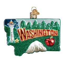 State Of Washington Landmarks Glass Ornament