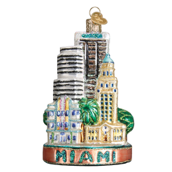 Miami Landmarks Glass Ornament