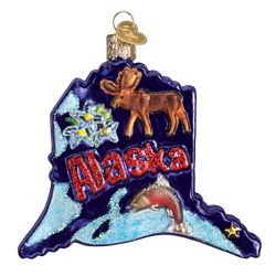 State Of Alaska Landmarks Glass Ornament