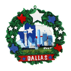 Dallas Texas Christmas Ornament Wreath