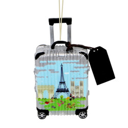 World Traveler Suitcase Paris Christmas Ornament