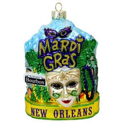 New Orleans Mardi Gras Glass Christmas Ornament