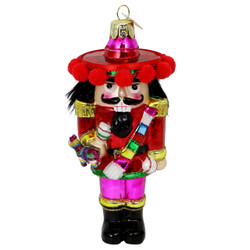 Glass Mexican Nutcracker Christmas Ornament