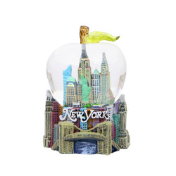 New York City Skyline Apple Snow Globe 2.5 Inches