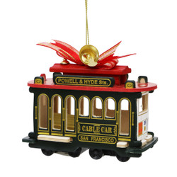 Wooden San Francisco Trolley Christmas Ornament