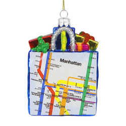 Glass MTA Subway Map Bag Christmas Ornament 5 Inch