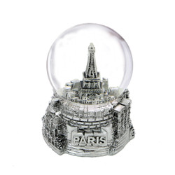 Mini Silver Paris Eiffel Tower Snow Globe 2.5 Inches