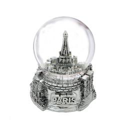 Mini Silver Paris Eiffel Tower Snow Globe 2.5 Inches
