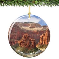 Zion National Park Christmas Ornament Porcelain Double Sided
