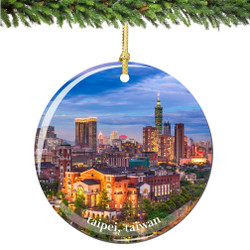 Taipei Taiwan Christmas Ornament Porcelain Double Sided