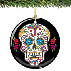 Sugar Skull Christmas Ornament Porcelain Double Sided