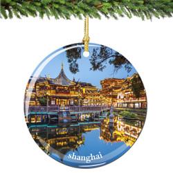 Shanghai Christmas Ornament Porcelain Double Sided