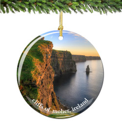 Cliffs of Moher Ireland Christmas Ornament Porcelain Double Sided